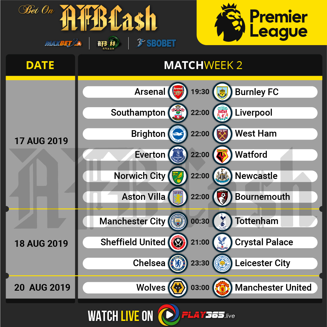 EPL Fixtures Matchweek 2