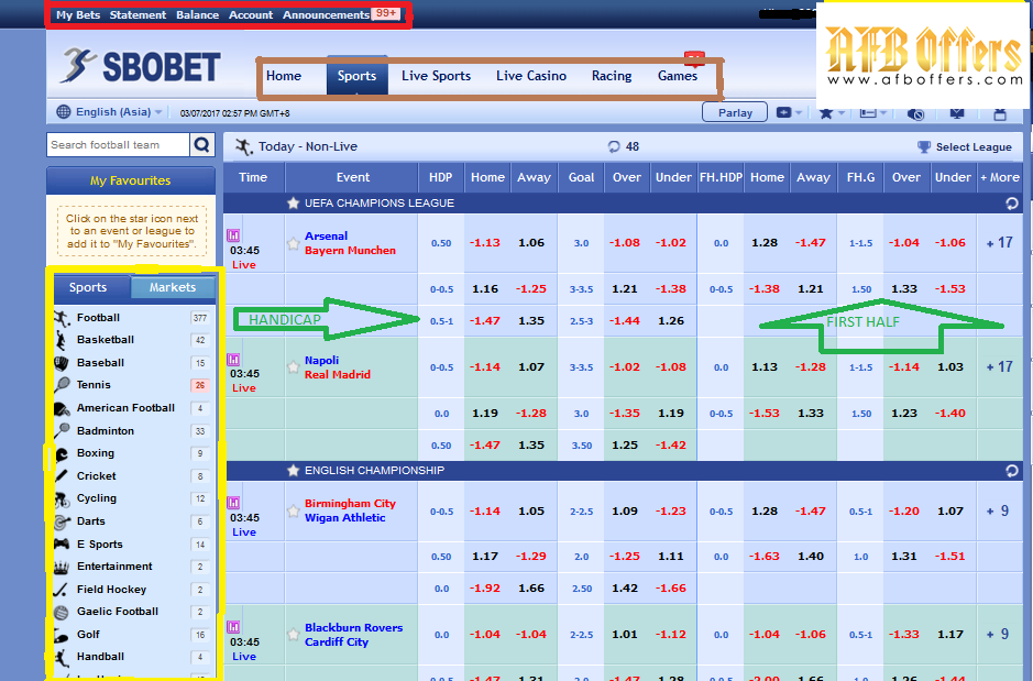 Sportsbook Online Betting Malaysia Tips on SBOBET